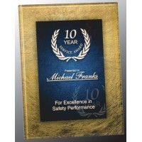 7.75X9.75  Gold/ Blue Acrylic plaque