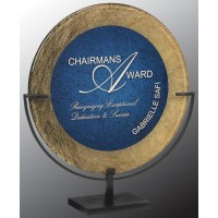 17.75''  Round  Gold/ Blue Acrylic plaque
