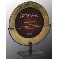 13.75 Round  Gold/BURG Acrylic plaque