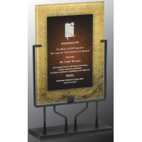 9.5'' X16''   Gold/BURG Acrylic plaque