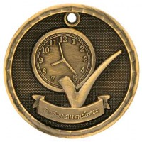 2 inch  3D Perfect Attendance Medal