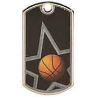 2 inch Black/ Basketball Laserable Star Dog Tag