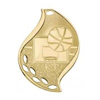 2 1/4 inch Basketball Laserable Flame Medal