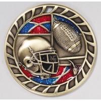 2.5 Inch Football Glitter Medal