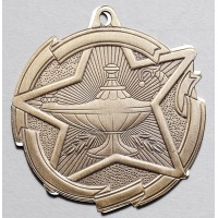 2 3/8 Inch Lamp of Knowledge Star Medal