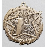 2 3/8 Inch Gold Star Medal First Place