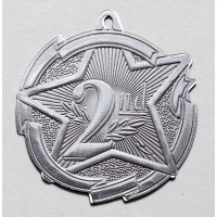 2 3/8 Inch Silver Star Medal Second Place