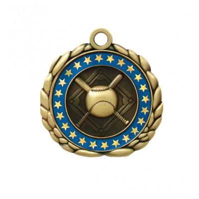 2 1/2  Antique Gold QCM Medal BASEBALL (MD-QCM1)