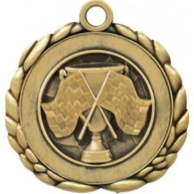 2 1/2  Antique Gold QCM Medal CROSS FLAG (MD-QCM11)