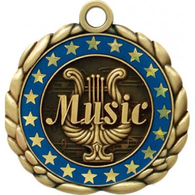 2 1/2  Antique Gold QCM Medal MUSIC (MD-QCM20)