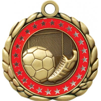 2 1/2  Antique Gold QCM Medal SOCCER (MD-QCM28)