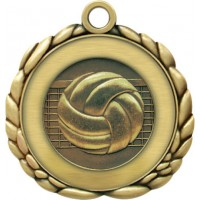 2 1/2  Antique Gold QCM Medal VOLLEYBALL (MD-QCM50)