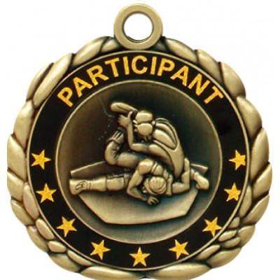2 1/2  Antique Gold QCM Medal WRESTLING (MD-QCM53)