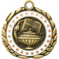 2 1/2  Antique Gold QCM Medal BOOK & LAMP (MD-QCM8)