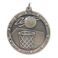 1 3/4 inch Basketball Shooting Star Medal