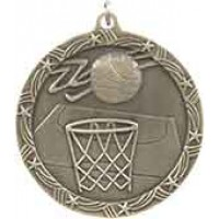 2 1/2 inch Basketball Shooting Star Medal