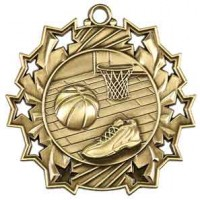 2 1/4 inch Basketball Ten Star Medal