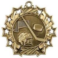 2 1/4 inch Hockey Ten Star Medal