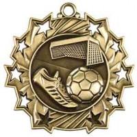 2 1/4 inch Soccer Ten Star Medal