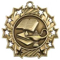 2 1/4 inch Lamp of Knowledge Ten Star Medal