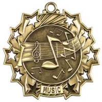 2 1/4 inch Music Ten Star Medal