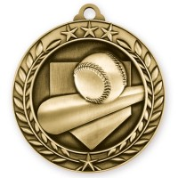 1 3/4'' Wreath Baseball Medallion Gold