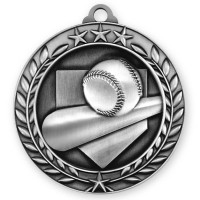 1 3/4'' Wreath Baseball Medallion Silver