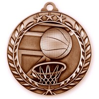 1 3/4'' Wreath Basketball Medallion Bronze