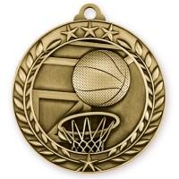 1 3/4'' Wreath Basketball Medallion Gold