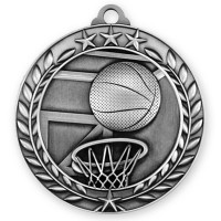 1 3/4'' Wreath Basketball Medallion Silver