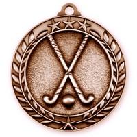 1 3/4'' Wreath Field Hockey Medallion Bronze