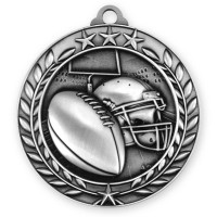 1 3/4'' Wreath Football Medallion Silver