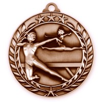 1 3/4'' Wreath Female Gymnastics Medallion Bronze