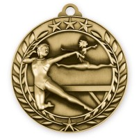 1 3/4'' Wreath Female Gymnastics Medallion Gold