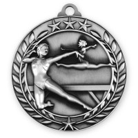 1 3/4'' Wreath Female Gymnastics Medallion Silver