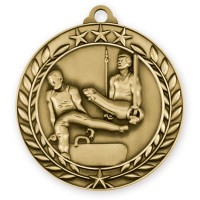 1 3/4'' Wreath Male Gymnastics Medallion Gold