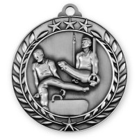 1 3/4'' Wreath Male Gymnastics Medallion Silver