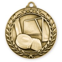 1 3/4'' Wreath Hockey Medallion Gold