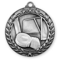 1 3/4'' Wreath Hockey Medallion Silver