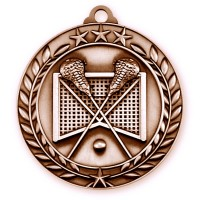 1 3/4'' Wreath Lacrosse Medallion Bronze