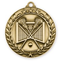 1 3/4'' Wreath Lacrosse Medallion Gold