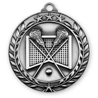 1 3/4'' Wreath Lacrosse Medallion Silver