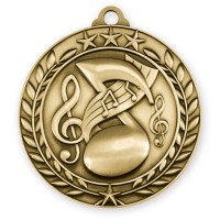 1 3/4'' Wreath Music Medallion Gold