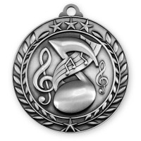 1 3/4'' Wreath Music Medallion Silver