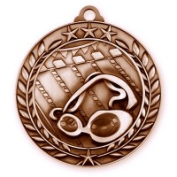 1 3/4'' Wreath Swimming Medallion Bronze
