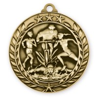 1 3/4'' Wreath Triathlon Medallion Gold