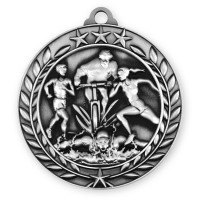 1 3/4'' Wreath Triathlon Medallion Silver