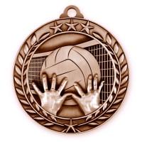 1 3/4'' Wreath Volleyball Medallion Bronze