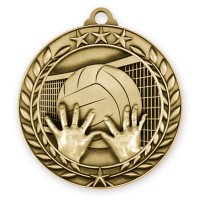 1 3/4'' Wreath Volleyball Medallion Gold