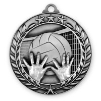 1 3/4'' Wreath Volleyball Medallion Silver